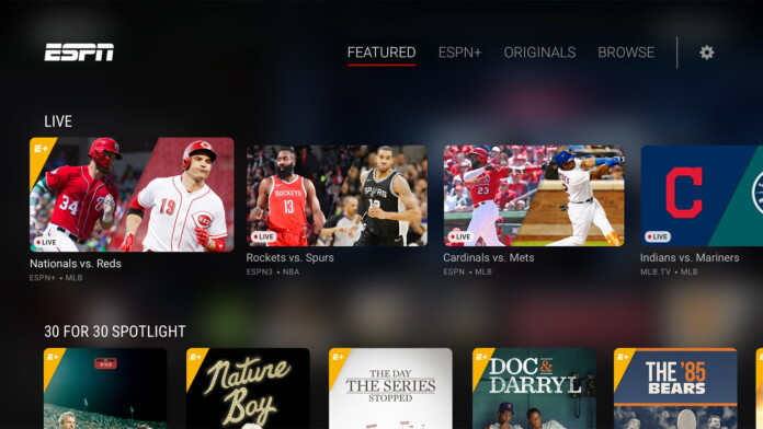 ESPN Media Streaming UI