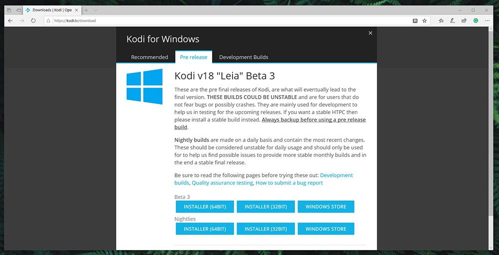 Kodi 18 Beta 3 Download Page