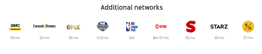 YouTube TV Additional Networks