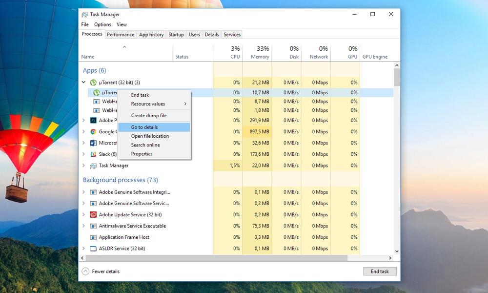 uTorrent Task Manager