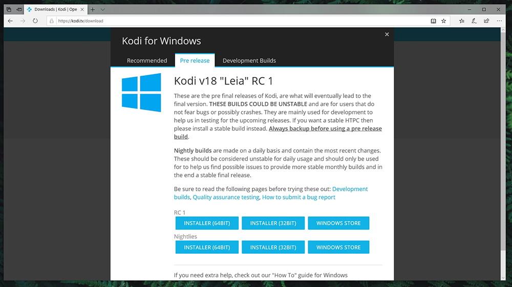 Kodi 18 RC1 Windows Download