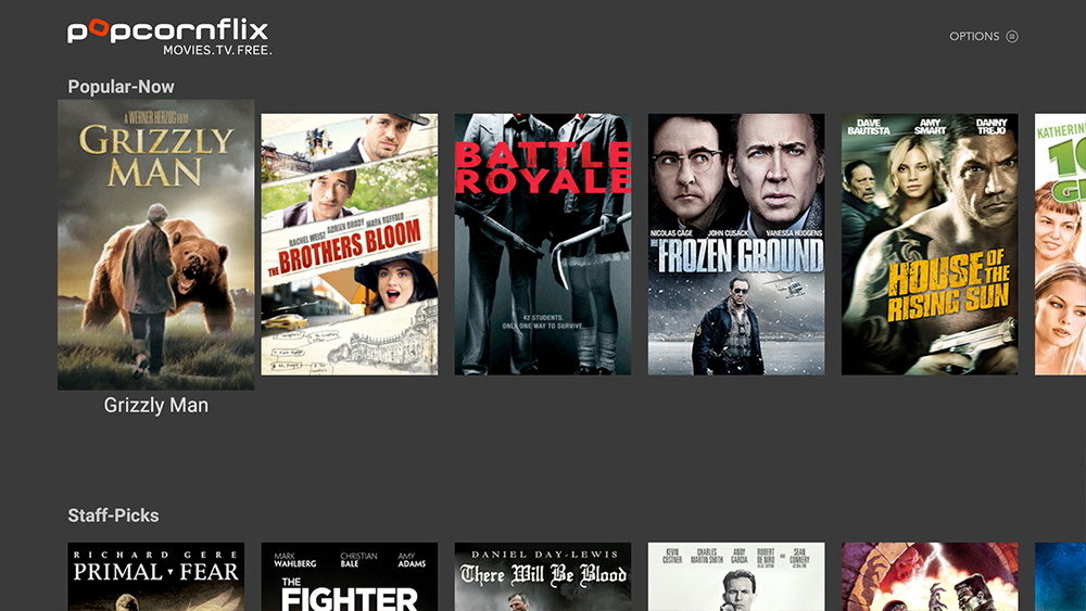 Popcornflix Interface Amazon Fire OS