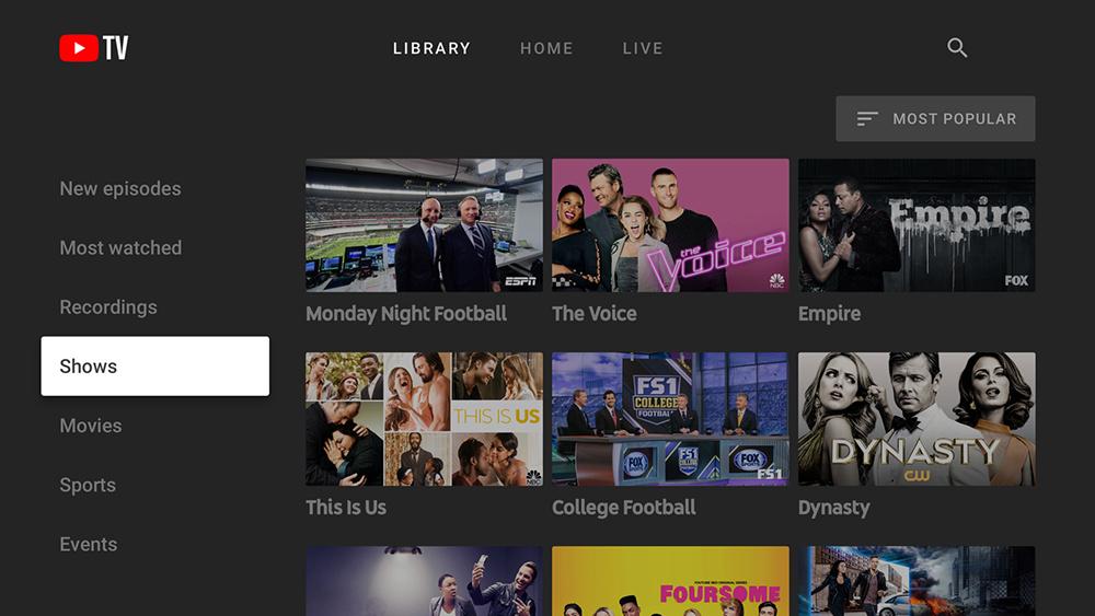 YouTube TV App Interface