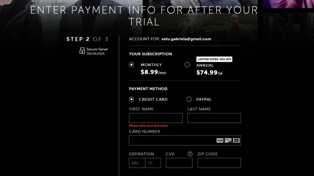 starz payment