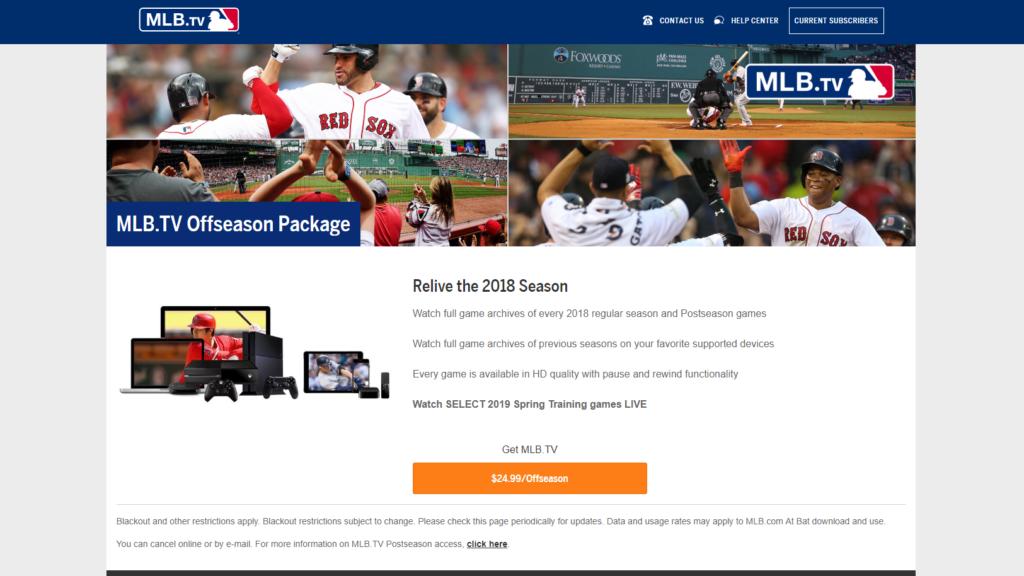 MLB.TV main page