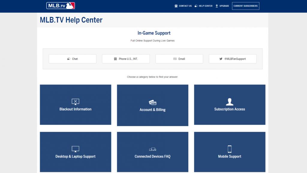 MLB.TV Customer support