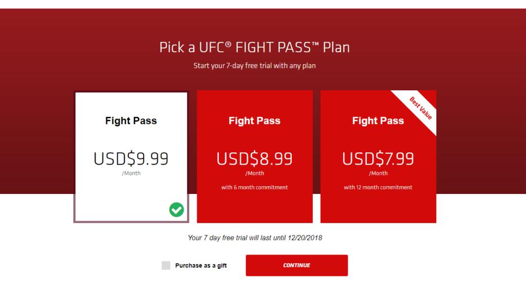 UFC Fight Pass price