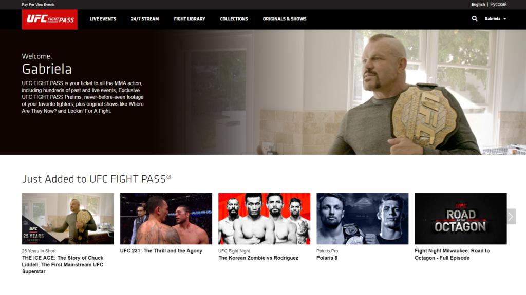 UFC Fight Pass UI