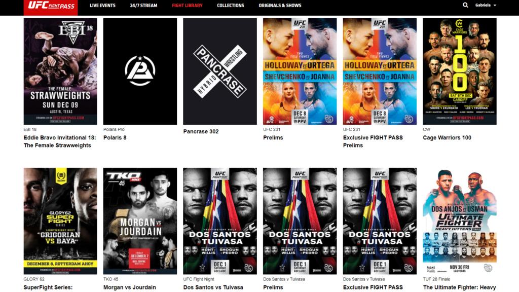 UFC League Pass content