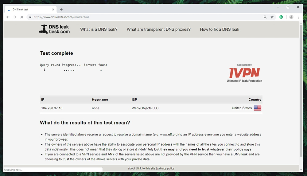 IPVanish Review - DNS Leak Test