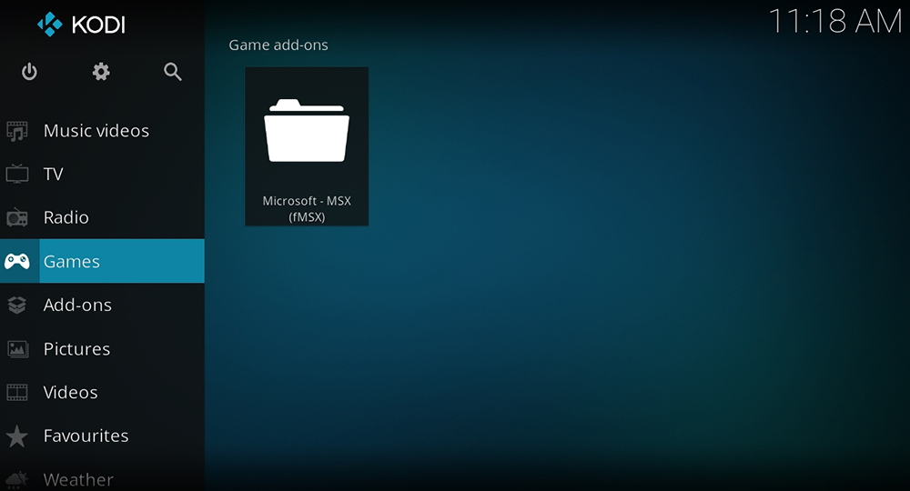 Kodi 18 Leia Games Section