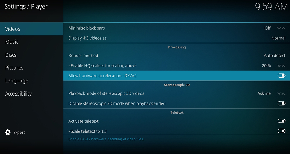 Kodi Hardware Acceleration