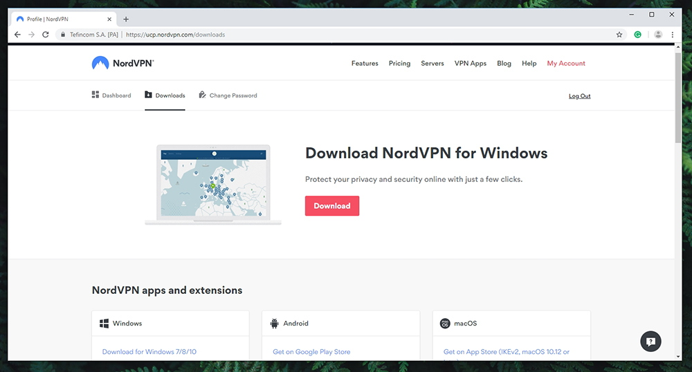 NordVPN Review - Account Page