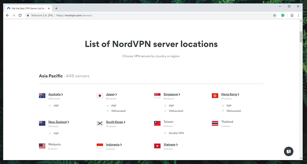 NordVPN Review - Server Count