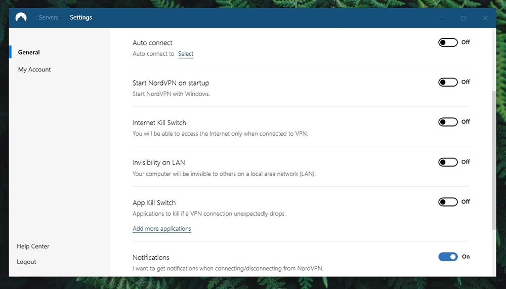 NordVPN Review - Settings