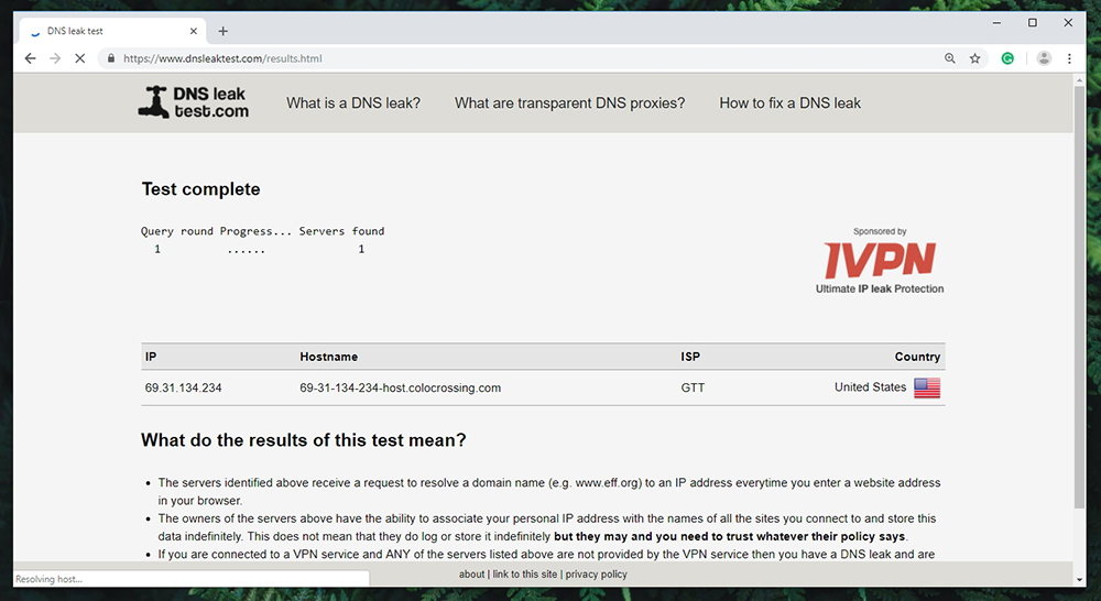 PrivateVPN Review - DNS Leak Test