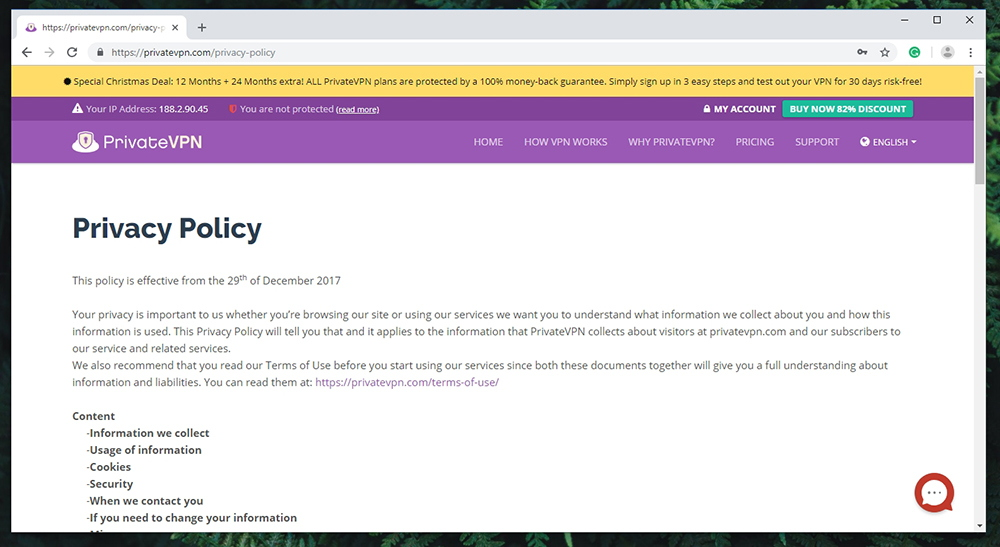 PrivateVPN Review - Privacy Policy