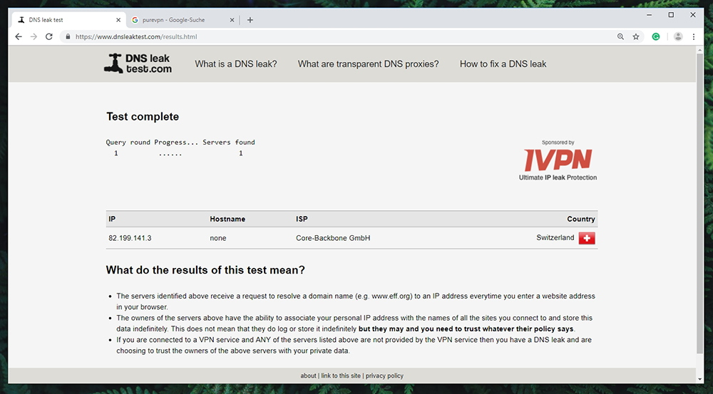 PureVPN Review - DNS Leak Detected