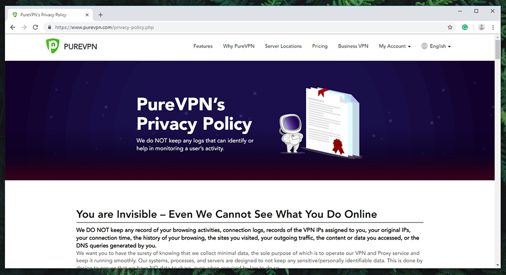 PureVPN Review - Privacy Policy