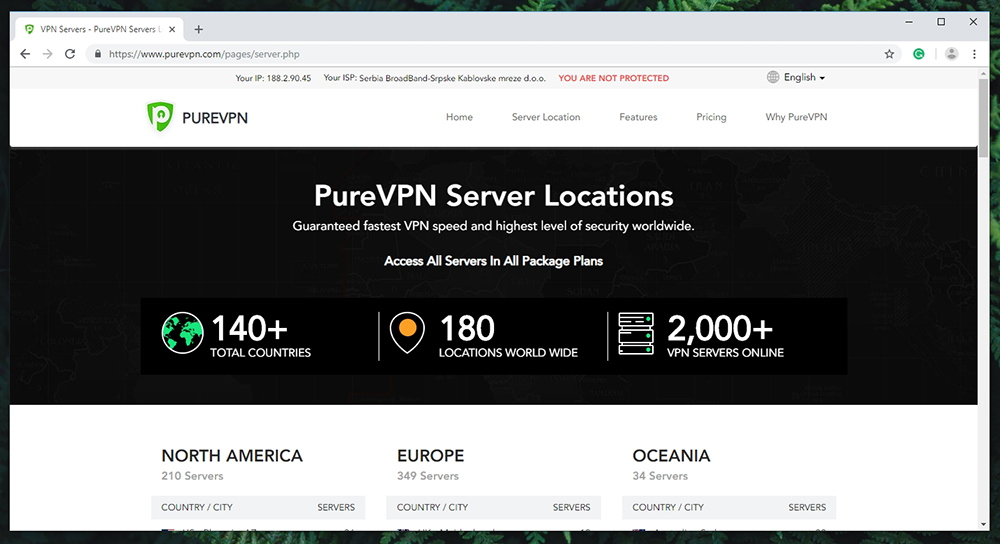 PureVPN Review - Server Locations