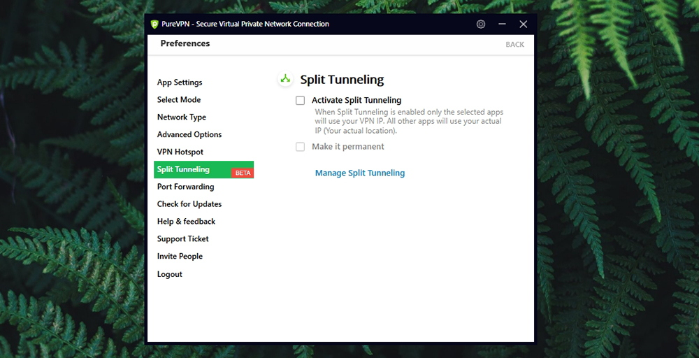 PureVPN Review - Split Tunneling