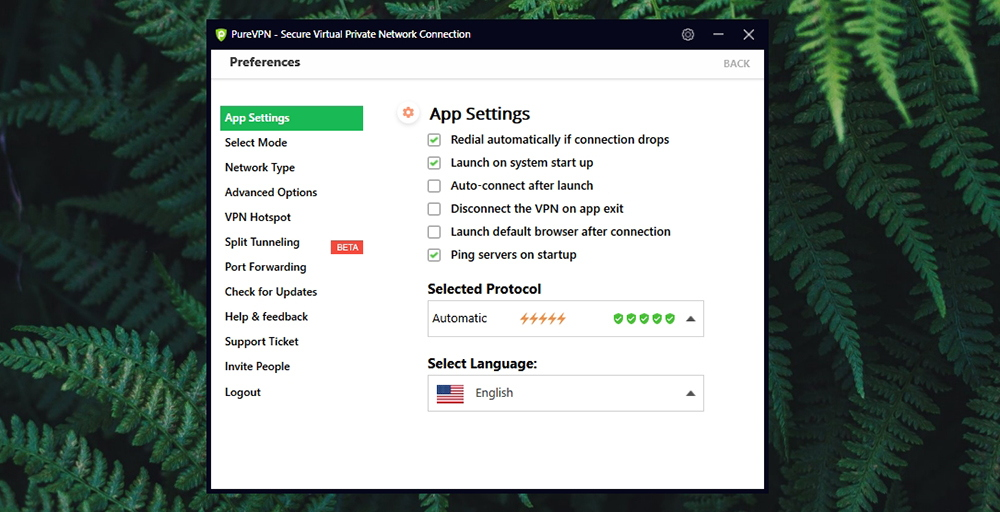 PureVPN Review - Startup Settings