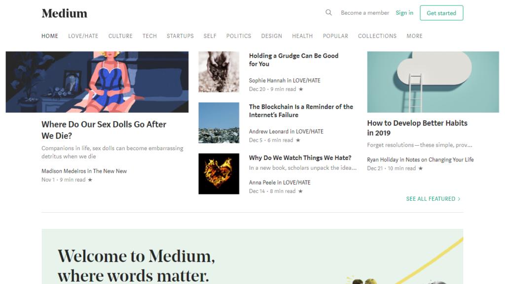 Tumblr Alternatives - Medium