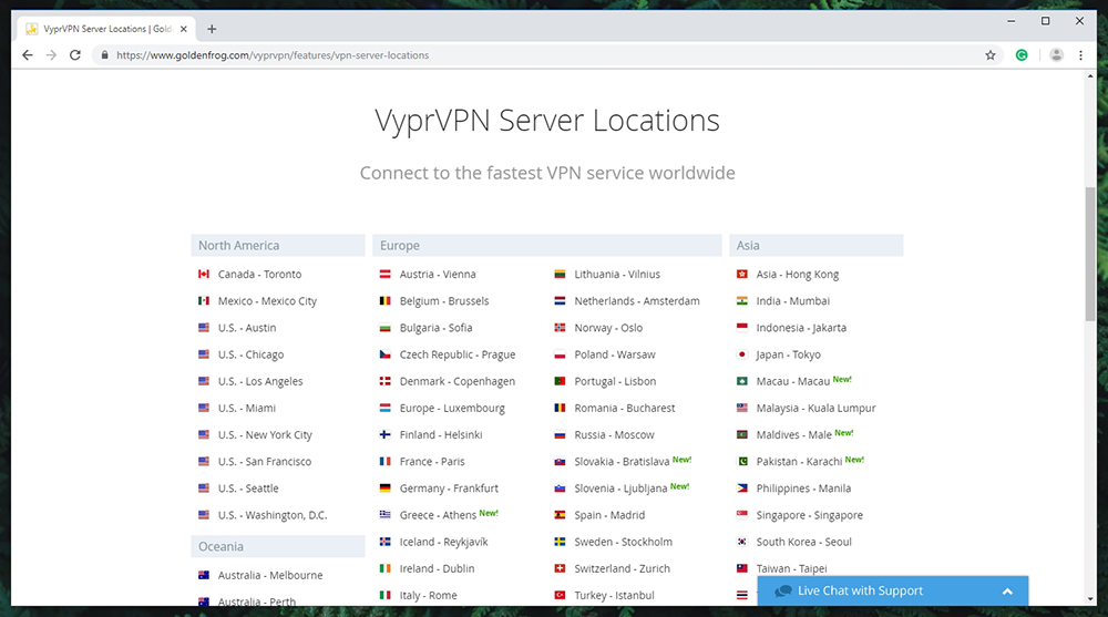 VyprVPN Review - Server Locations