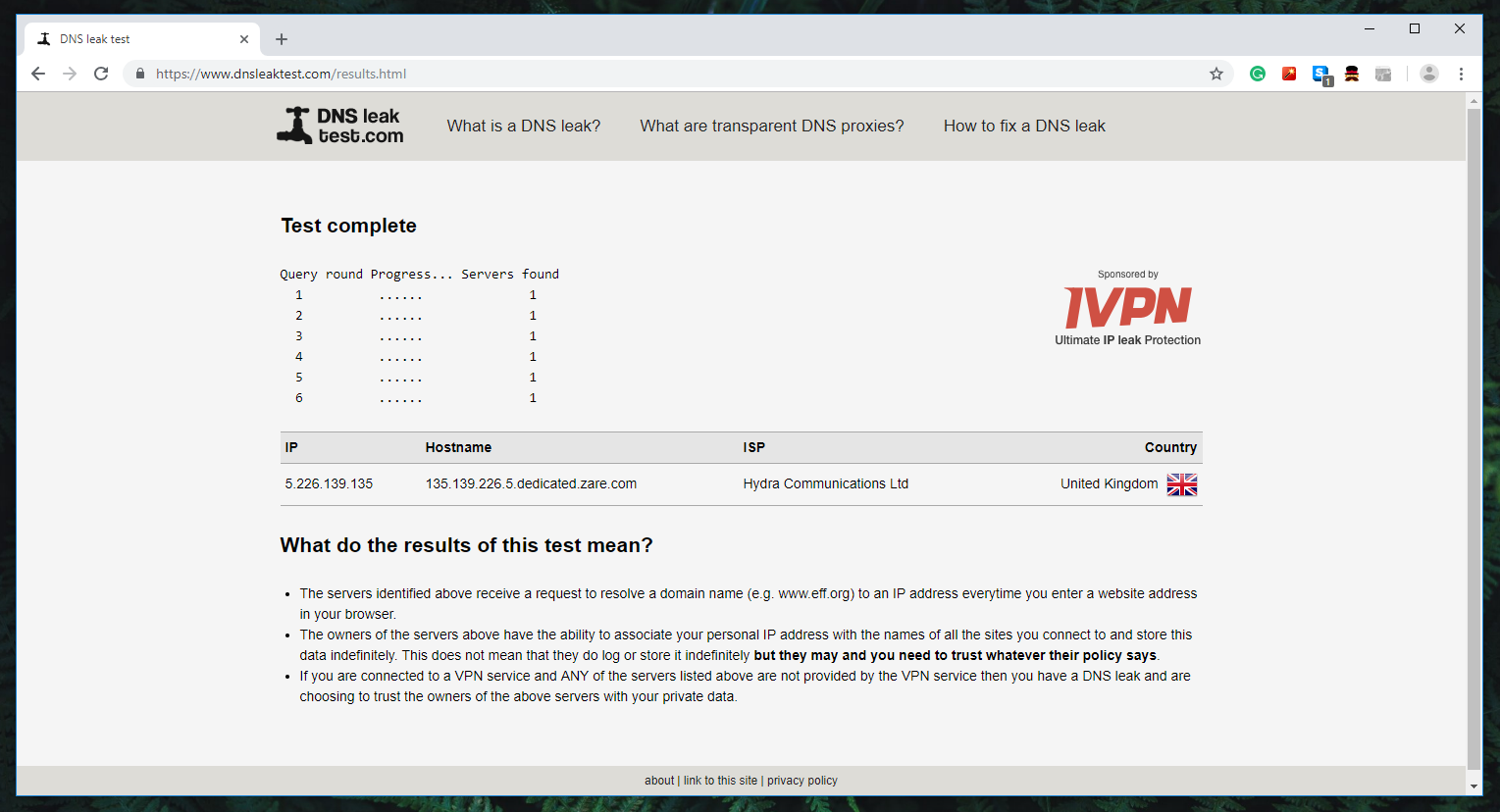 FastestVPN Review - DNS Leak Testing