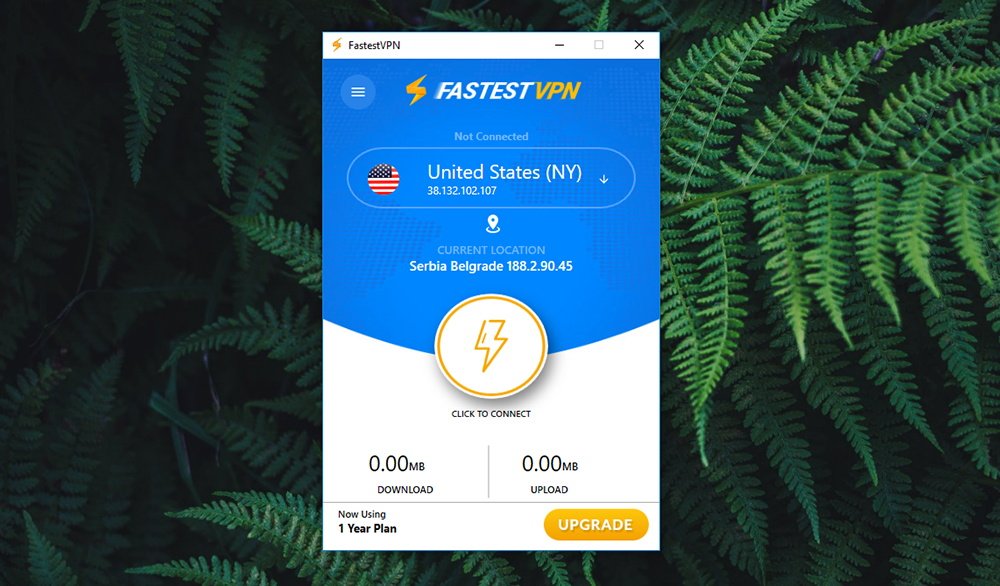FastestVPN Review - Home Screen