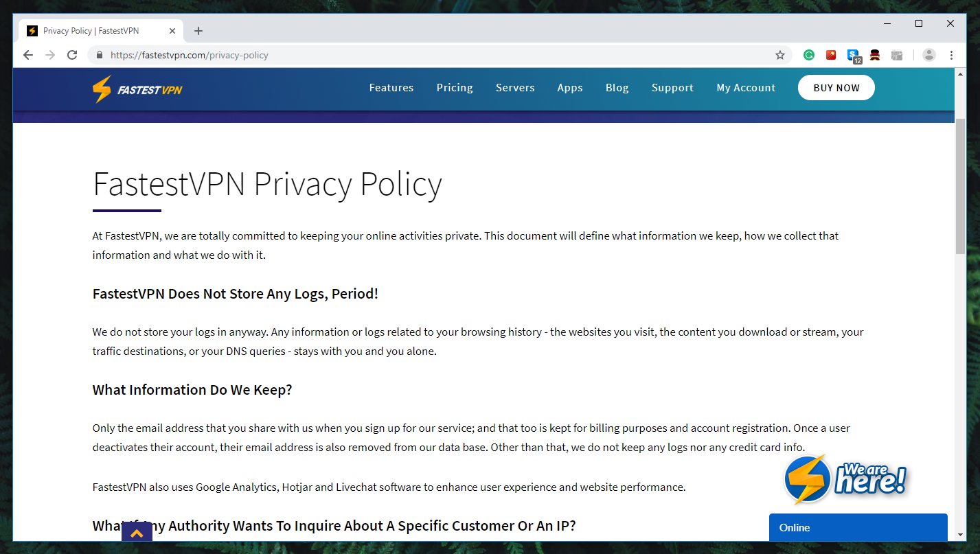 FastestVPN Review - Privacy Policy