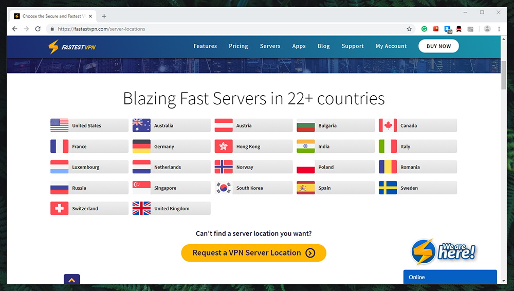 FastestVPN Review - Server Network