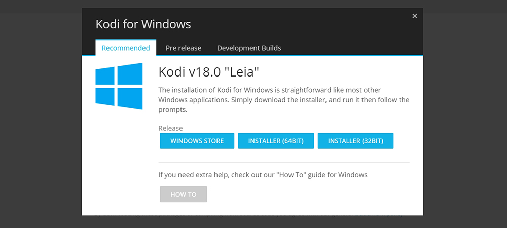 Kodi 18 Leia for Windows