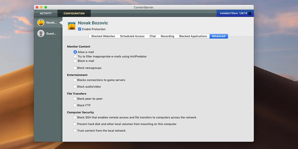 Mac Premium Bundle X9 - ContentBarrier Interface