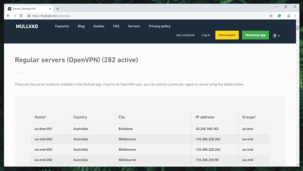 Mullvad VPN Review - Server Count
