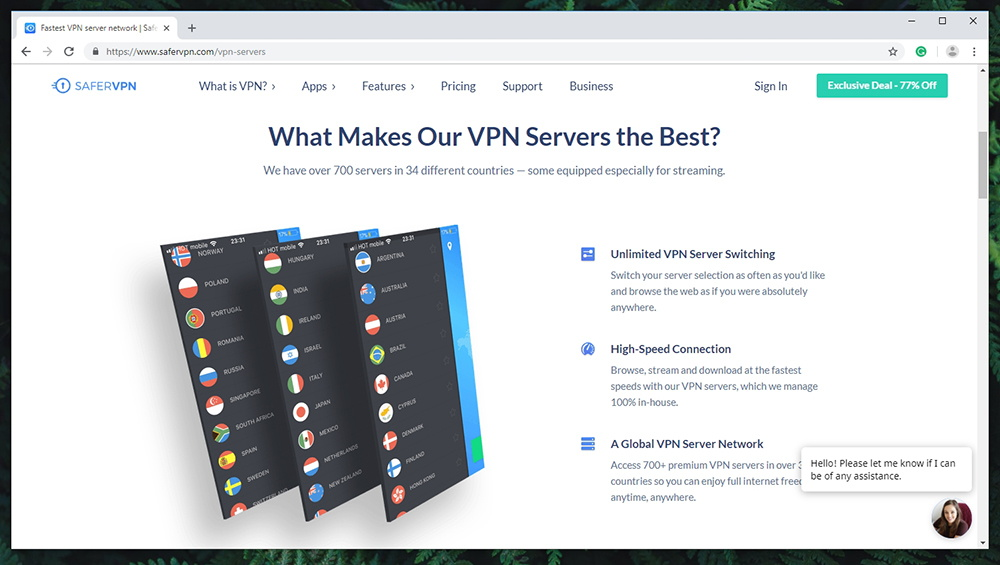 SaferVPN Review - Server Count
