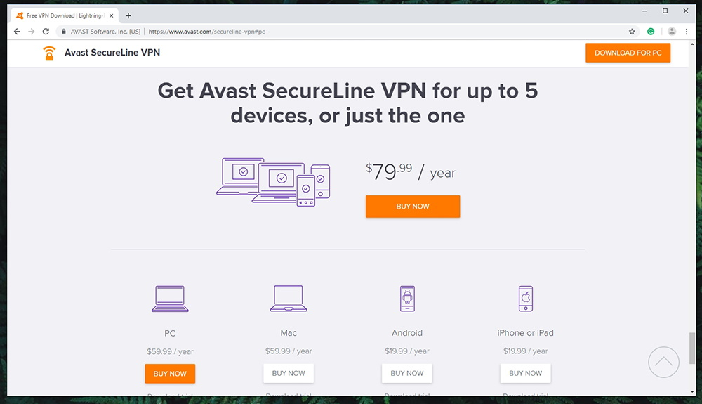 Avast SecureLine VPN - Pricing