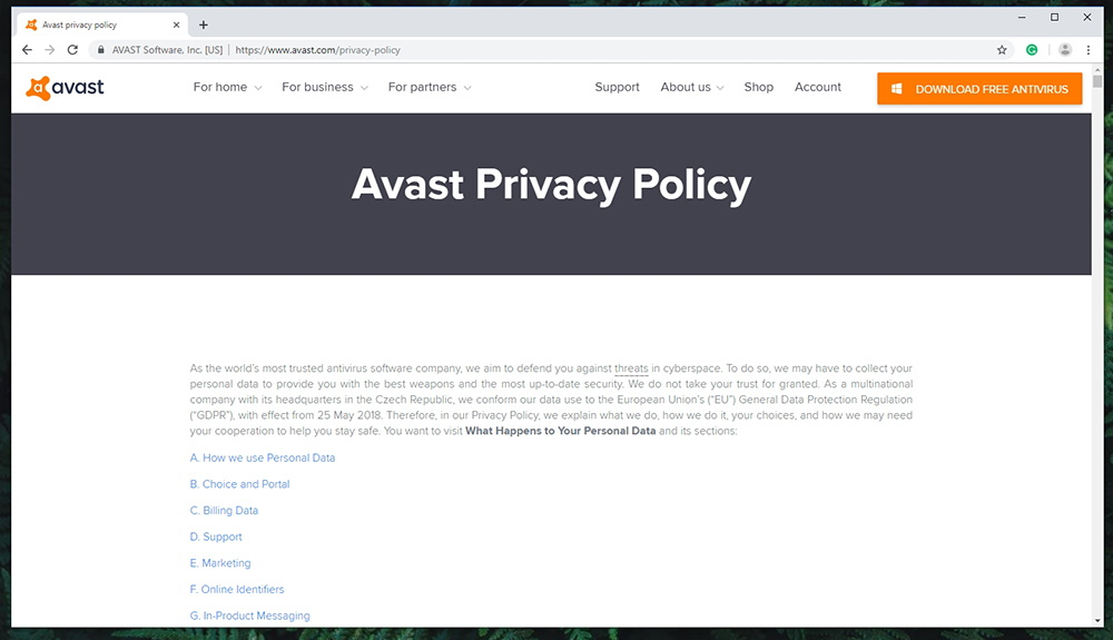 Avast SecureLine VPN - Privacy Policy