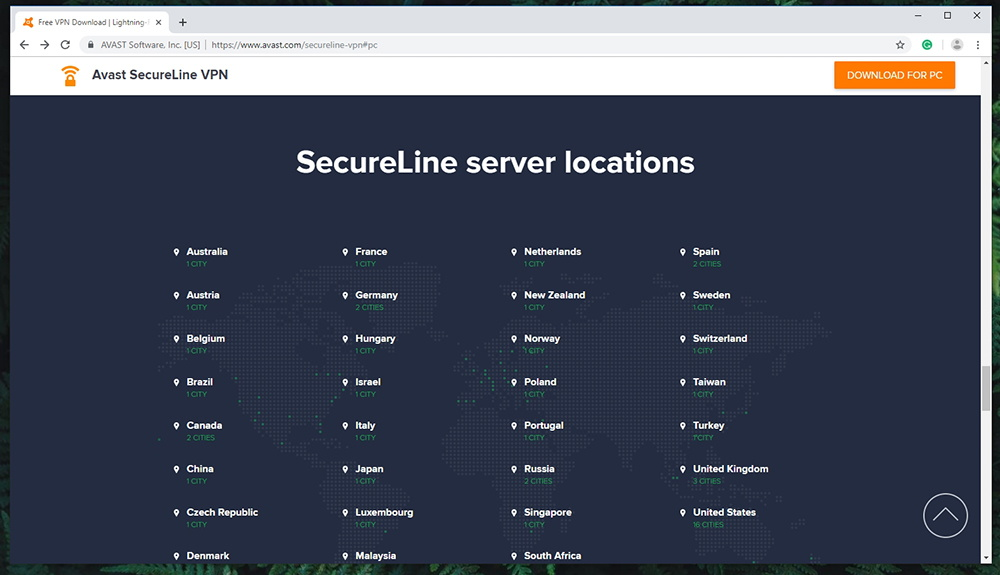 Avast SecureLine VPN - Server Locations