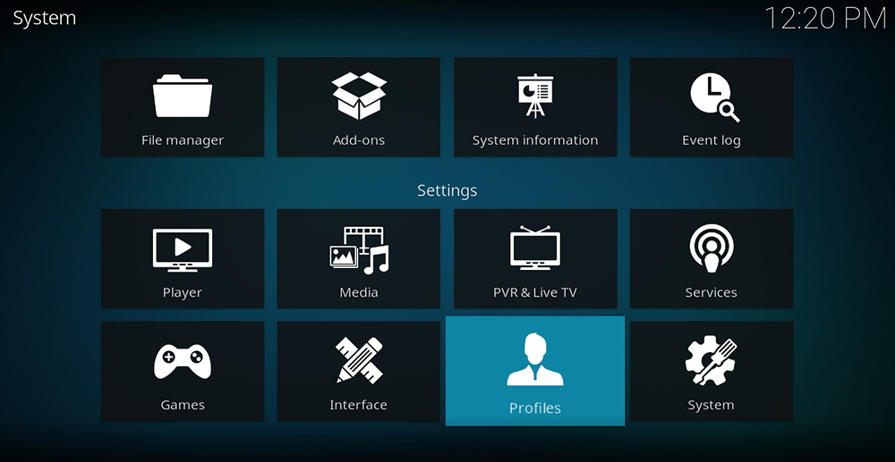 Kodi Profiles Settings