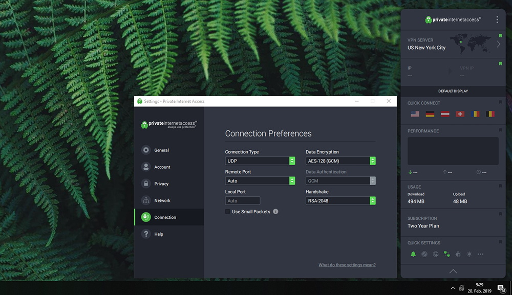Private Internet Access VPN - Connection Settings
