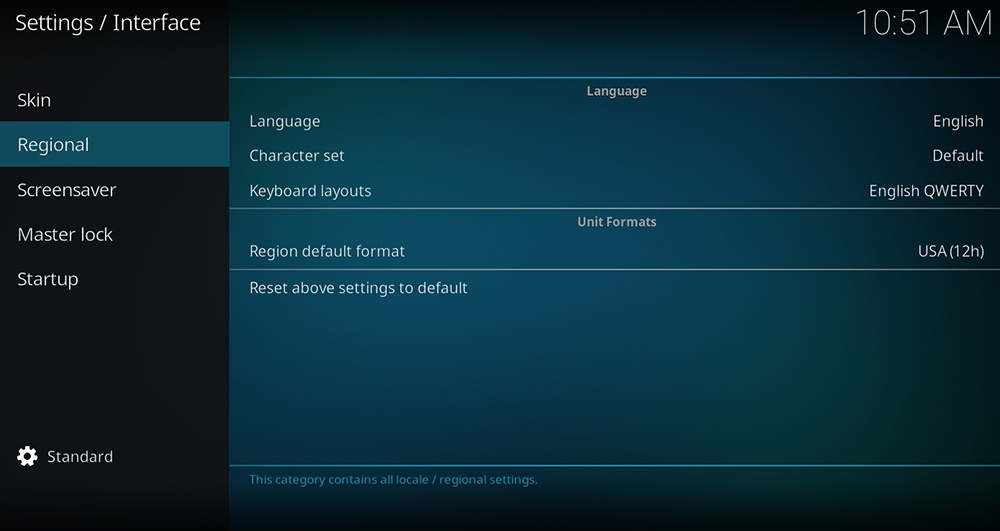 Regional Settings Kodi
