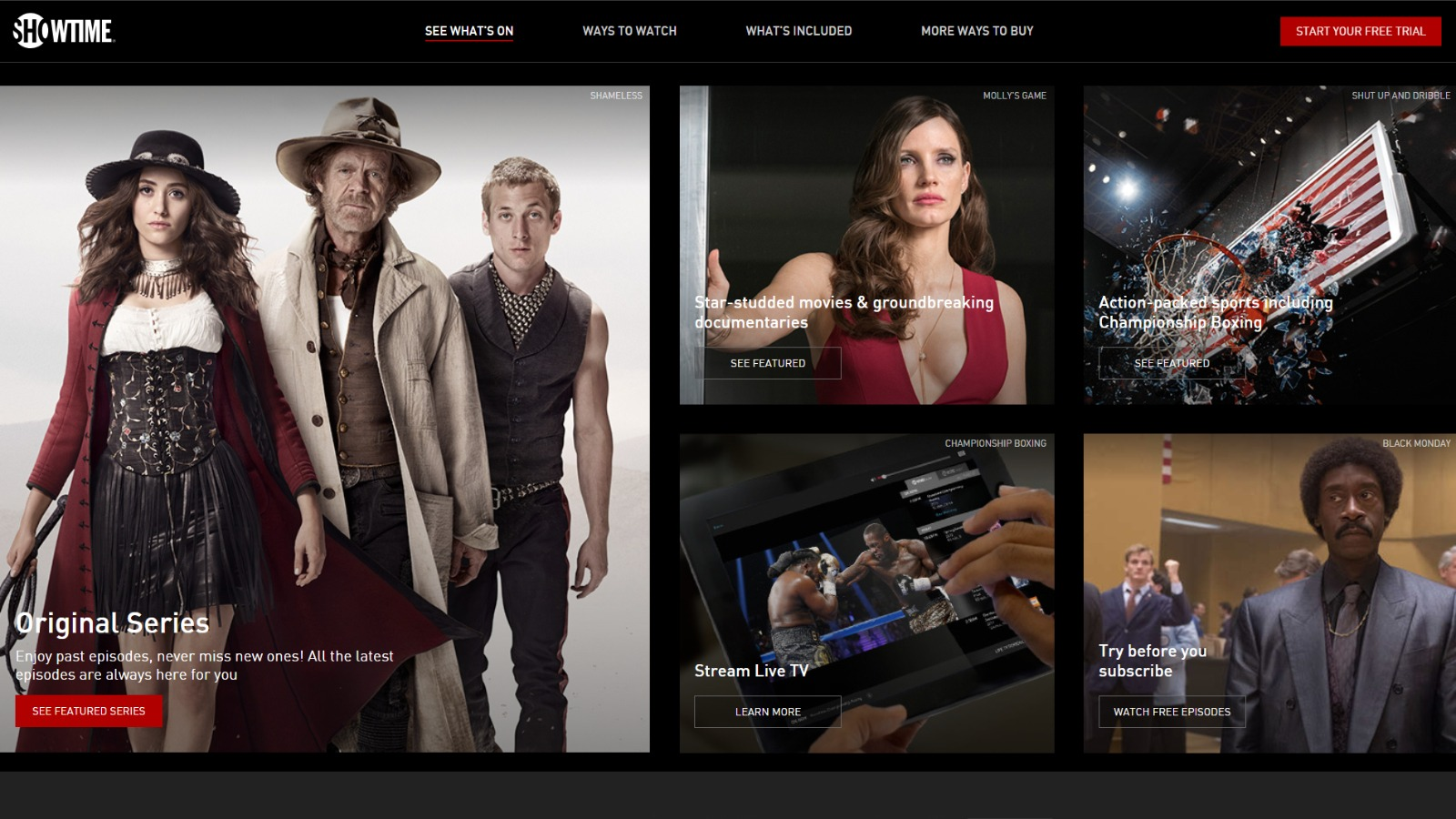 Showtime Homepage