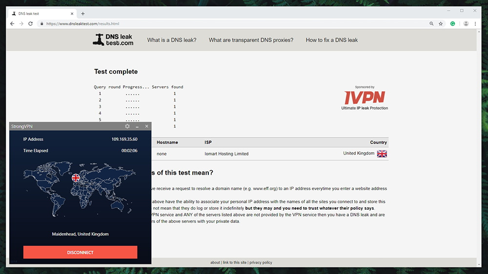 StrongVPN Review - DNS Leak Test
