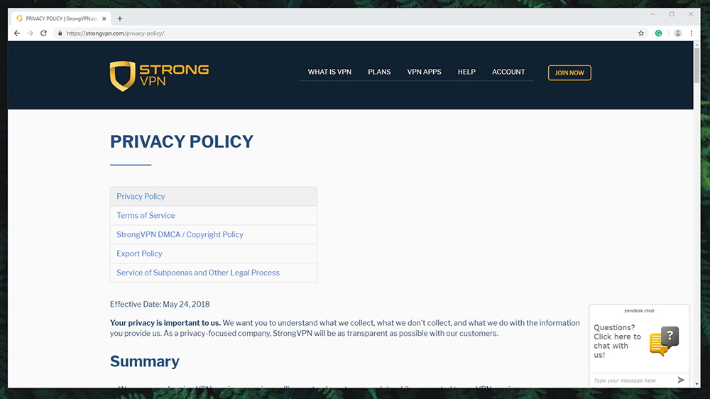 StrongVPN Review - Privacy Policy