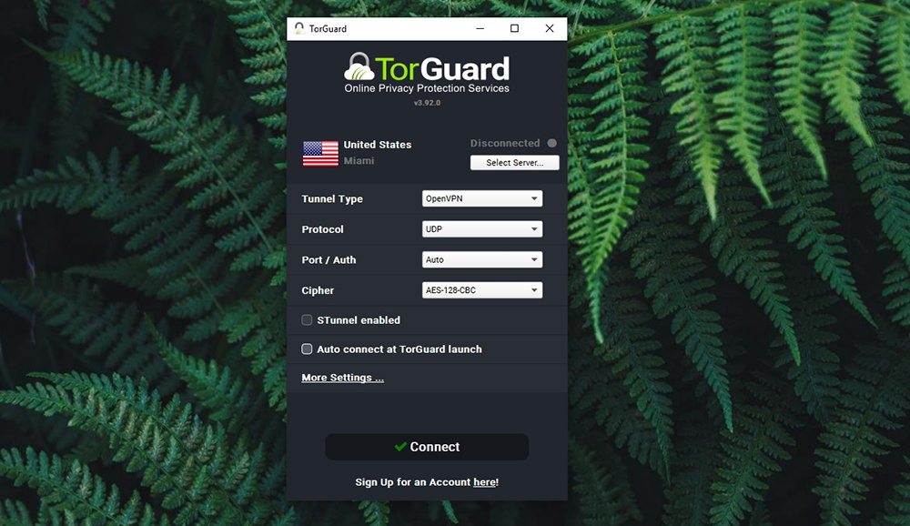 TorGuard Review - Home Screen UI