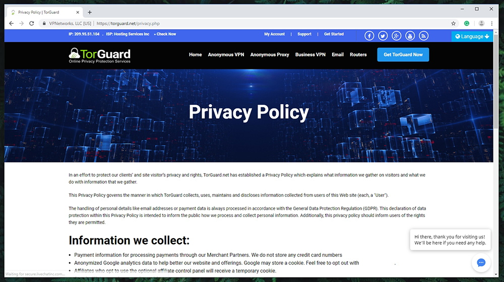 TorGuard Review - Privacy Policy