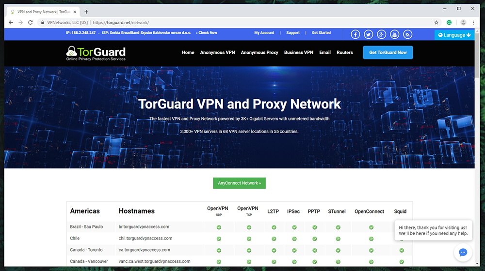 TorGuard Review - Server Network