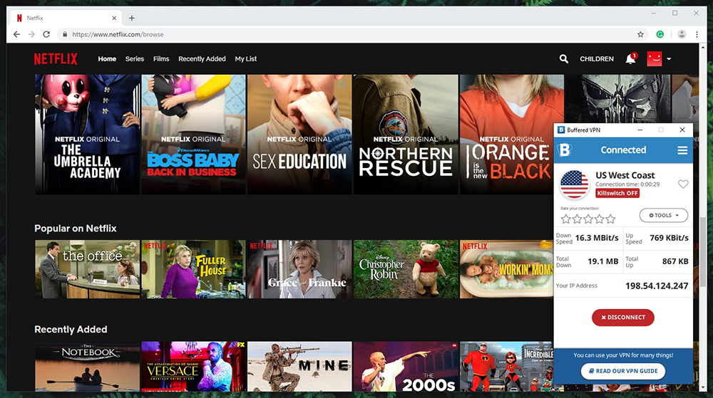 Buffered VPN Netflix Streaming