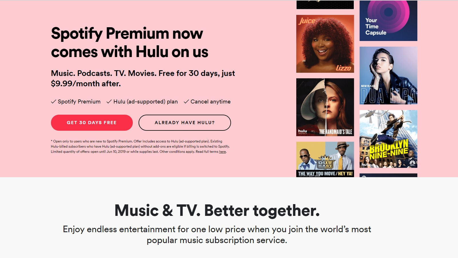 Hulu is Now Included for Free as Part of Spotify Premium